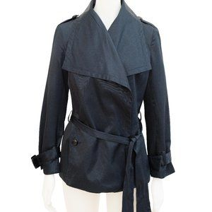 Anise Midnight Blue Satin Trench Coat Jacket